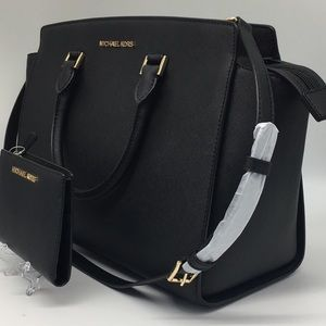 MICHAEL KORS SELMA LG TZ SATCHEL & MD WALLET BLACK